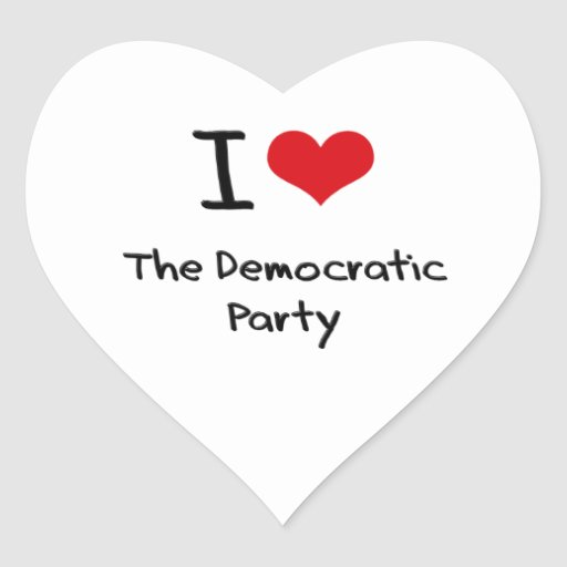I Love The Democratic Party Heart Stickers