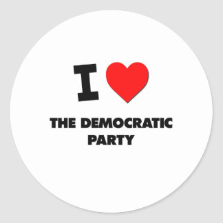 I Love The Democratic Party Round Sticker