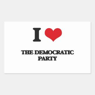 I Love The Democratic Party Rectangular Sticker