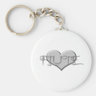 I Love The Flute Silver Heart Key Ring