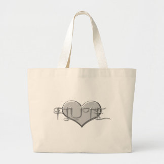 I Love The Flute Silver Heart Large Tote Bag