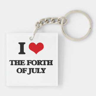 I love The Forth Of July Double-Sided Square Acrylic Keychain