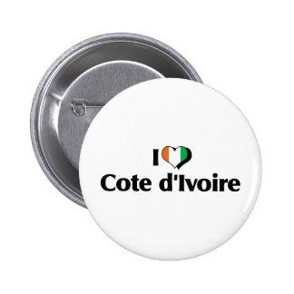 I Love The Ivory Coast Flag 6 Cm Round Badge