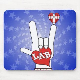 I LOVE THE LAB ASL SIGN MOUSE PAD