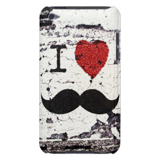 I Love the Mustache Rustic Custom Barely There iPod Cases