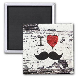I Love the Mustache Rustic Custom Magnet