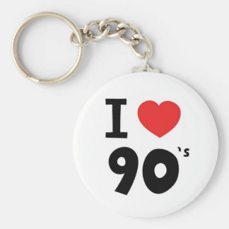 I love the nineties basic round button key ring