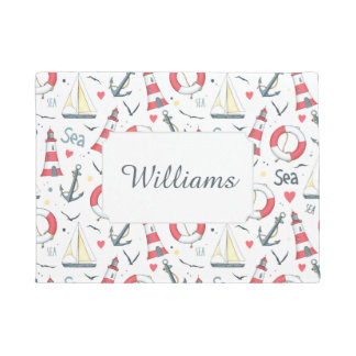 I Love The Sea Pattern | Add Your Name Doormat