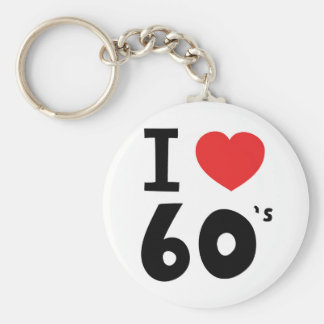 I love the sixties basic round button key ring