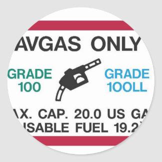 I love the smell of AVGAS in the morning! Classic Round Sticker