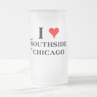 I Love the Southside of Chicago Frosted Glass Beer Mug