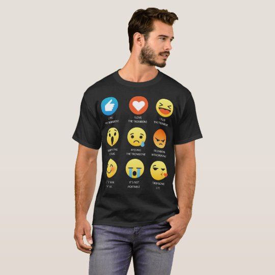 I Love The Trombone Emoji Emoticon Tee Shirt