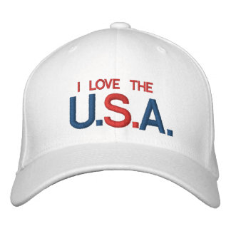 I LOVE THE U.S.A CUSTOMIZABLE CAP @ eZaZZleMan.com Embroidered Hat