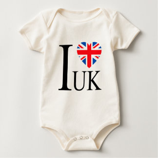 I Love the UK Great Britain Flag Heart Baby Bodysuit