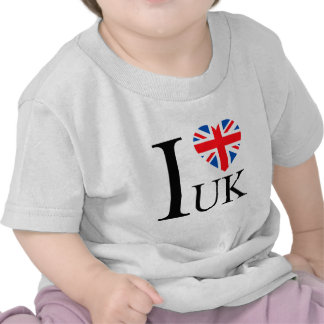 I Love the UK Great Britain Flag Heart Tee Shirt