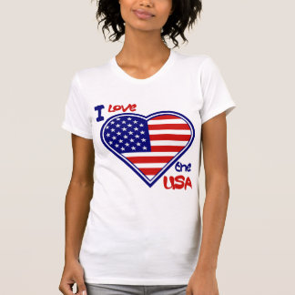 I Love the USA Heart Flag Ladies T-shirt