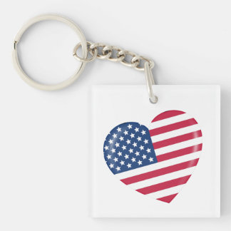 I Love the USA - Heart of Patriotic American Single-Sided Square Acrylic Key Ring