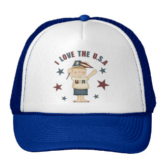 I Love The USA Kids 4th Of July Hat/Cap