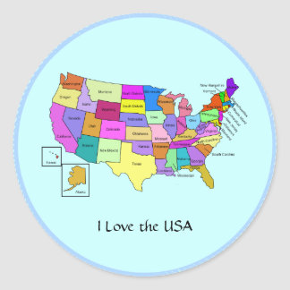 I Love the USA, United States map Stickers