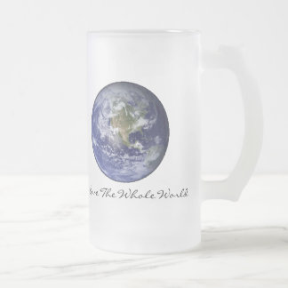 I love the whole world frosted glass mug