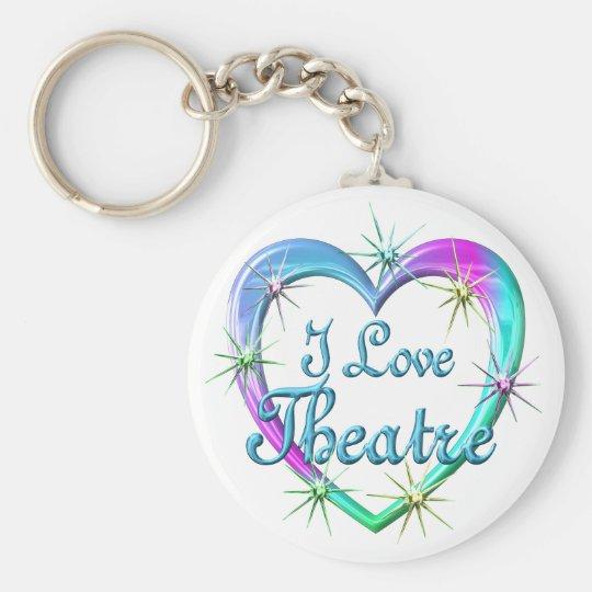 I Love Theatre Basic Round Button Key Ring