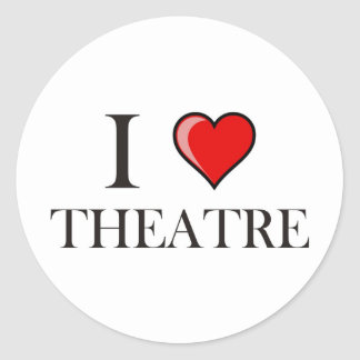I Love Theatre Classic Round Sticker