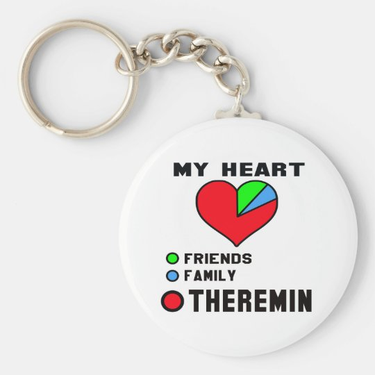 I love Theremin. Basic Round Button Key Ring