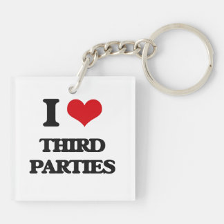 I love Third Parties Double-Sided Square Acrylic Keychain