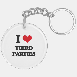 I love Third Parties Double-Sided Round Acrylic Keychain