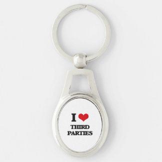 I love Third Parties Silver-Colored Oval Keychain