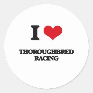 I Love Thoroughbred Racing Round Sticker