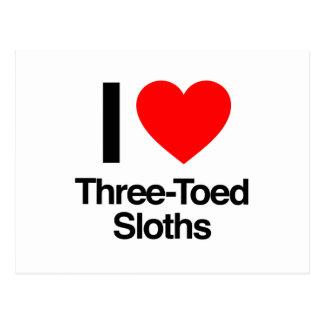 i love three-toed sloths post card