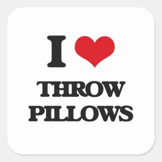 I love Throw Pillows Square Sticker