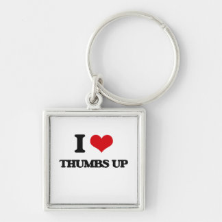 I love Thumbs Up Silver-Colored Square Keychain