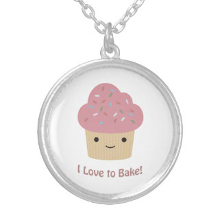 I love to Bake! Cute Cupcake Custom Necklace