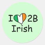 i love to be irish round sticker