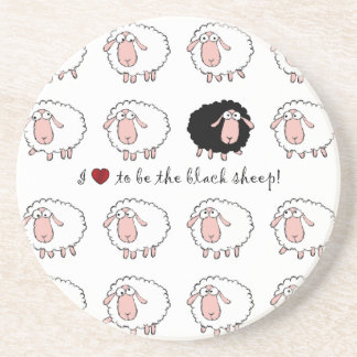 i love to be the black sheep beverage coasters