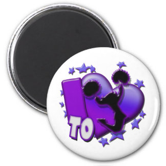 I Love to Cheer (Purple) 6 Cm Round Magnet