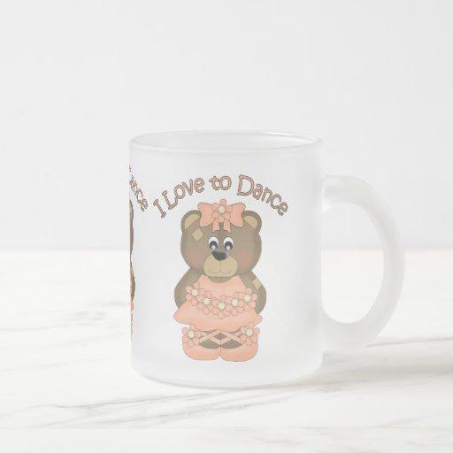 I Love to Dance Ballerina Bear Orange Mug