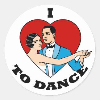 I Love to Dance Round Sticker