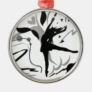 I Love To Dance! Silver-Colored Round Decoration