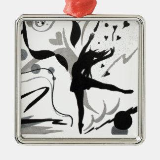 I Love To Dance! Silver-Colored Square Decoration