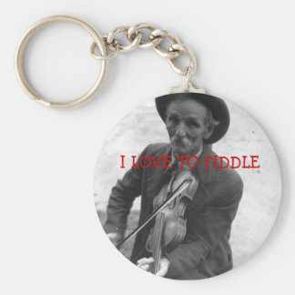 """I LOVE TO FIDDLE"" BASIC ROUND BUTTON KEY RING"