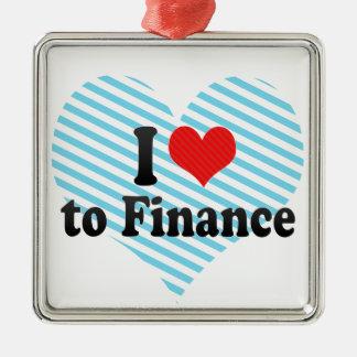 I Love to Finance Silver-Colored Square Decoration