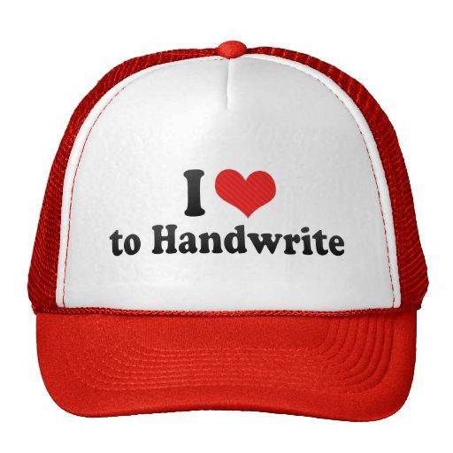 I Love to Handwrite Hats