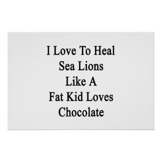 I Love To Heal Sea Lions Like A Fat Kid Loves Choc Poster