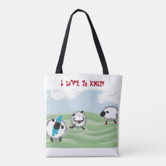 """I love to knit!"" frolicking sheep knitting tote"