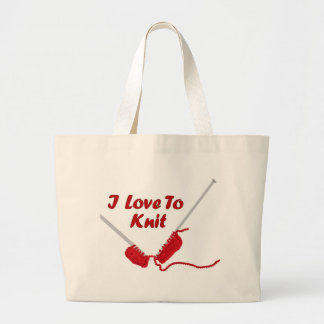 I Love To Knit Large Tote Bag