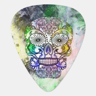 I Love To Pluck Rainbow Sugar Skull Guitar Pick