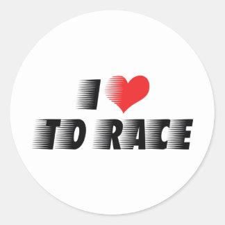 I Love To Race Sticker